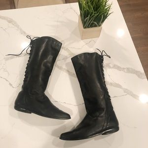 Black leather riding boots with lace up back 10